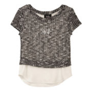 by&by Girl Slub Sweater with Hi-Low Hem Top - Girls 7-16