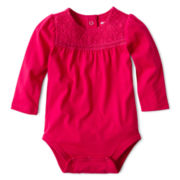 Arizona Long-Sleeve Lace Knit Bodysuit – Girls 3m-24m