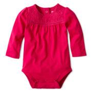 Arizona Long-Sleeve Lace Knit Bodysuit – Girls 3m-24m