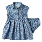 Arizona Short-Sleeve Denim Shirtwaist Dress – Girls 3m-24m