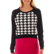 Olsenboye® Cropped Houndstooth Sweatshirt