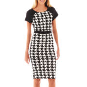 Olsenboye® Short-Sleeve Houndstooth Midi Dress