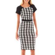 Olsenboye® Short-Sleeve Houndstooth Midi Dress
