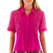 Olsenboye® Short-Sleeve Lace Chiffon Blouse