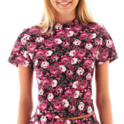 Olsenboye® Short-Sleeve Floral Print Crop Top
