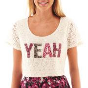 Olsenboye® Short-Sleeve Cropped Lace Tee