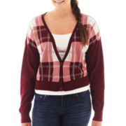 Arizona Long-Sleeve Cropped Plaid Cardigan - Plus