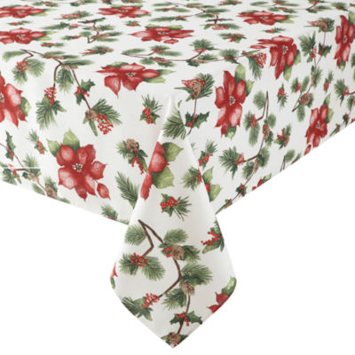 UPC 078912350018 Product Image For JCPenney Home Holiday Poinsettia  Tablecloth   Upcitemdb.com