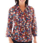 Alfred Dunner® San Antonio 3/4-Sleeve Mini Floral Print Blouse