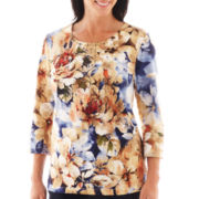 Alfred Dunner® San Antonio 3/4-Sleeve Floral Print Top