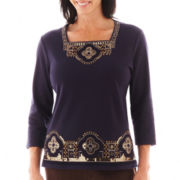 Alfred Dunner® San Antonio 3/4-Sleeve Beaded Yoke Border Top