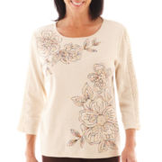 Alfred Dunner® San Antonio 3/4-Sleeve Floral Lace-Trim Top