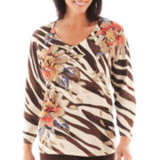 Alfred Dunner® San Antonio 3/4-Sleeve Floral Animal Print Sweater