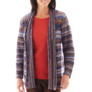 Alfred Dunner® San Antonio 3/4-Sleeve Space-Dye Cardigan Sweater