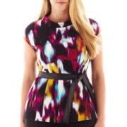 Worthington® Short-Sleeve Belted Peplum Top - Plus