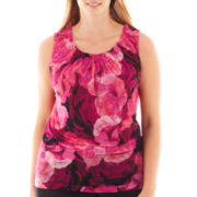 Worthington® Sleeveless Smocked Mesh Top - Plus