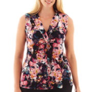 Worthington® Sleeveless Shawl Collar Top - Plus