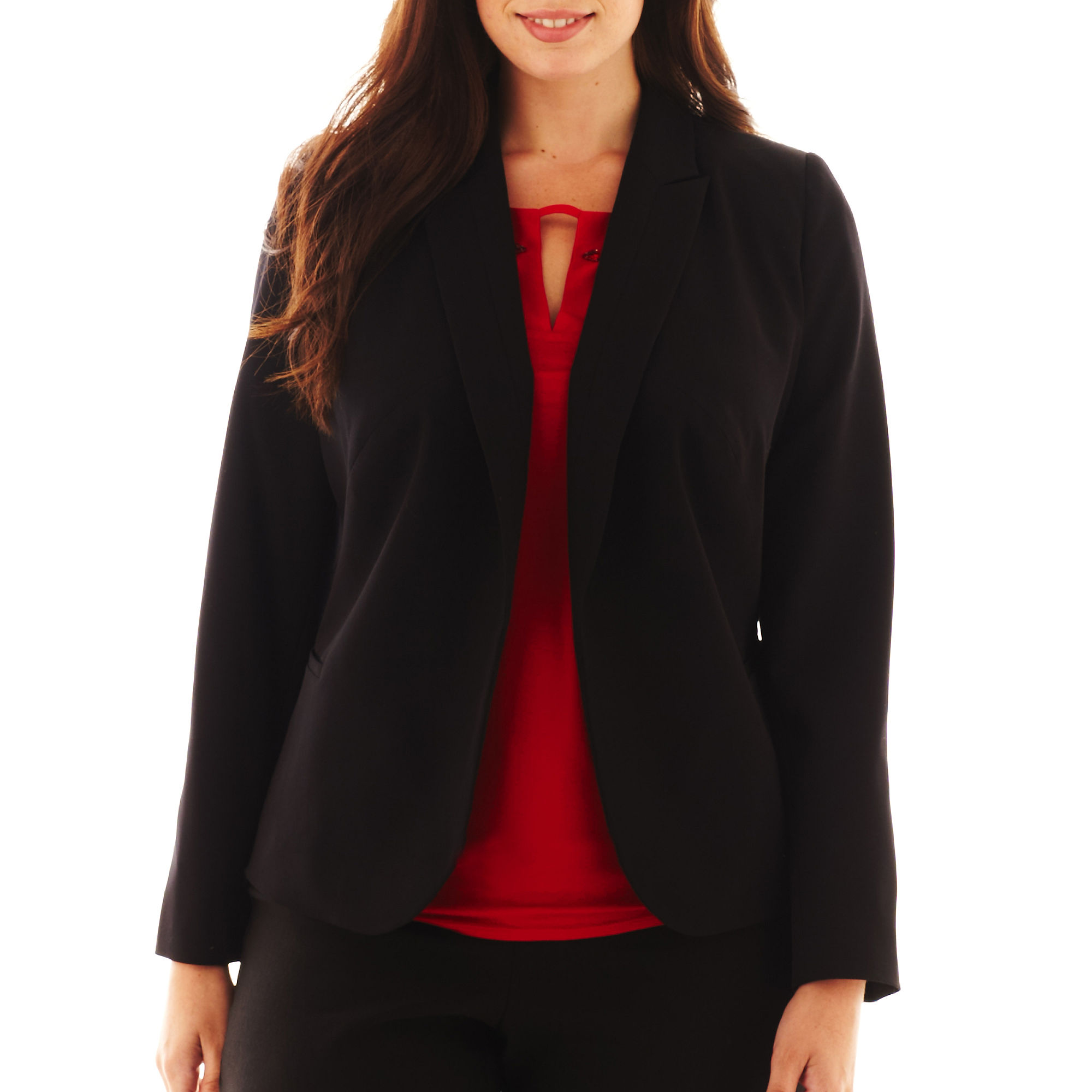 Worthington Long-Sleeve Open-Front Blazer - Plus