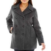 St. John's Bay® Wool-Blend Pea Coat - Plus