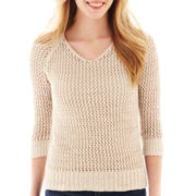 jcp™ 3/4-Sleeve Pointelle Tape Yarn Sweater
