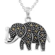 Le Vieux™ Marcasite Silver-Plated Elephant Pendant Necklace