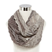 Metallic Pleated Paisley Loop Scarf