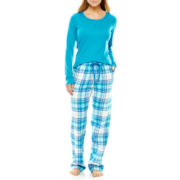 Liz Claiborne® Long-Sleeve Shirt and Flannel Pants Pajama Set - Petite