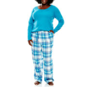 Liz Claiborne® Long-Sleeve Shirt and Flannel Pants Pajama Set - Plus