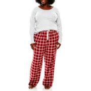 Liz Claiborne® Long-Sleeve Shirt and Flannel Pants Pajama Set - Plus