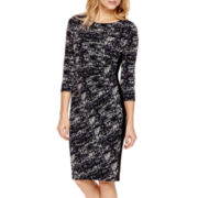 Black Label by Evan-Picone 3/4-Sleeve Side-Ruched Dress