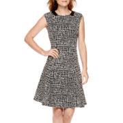 Black Label by Evan-Picone Cap-Sleeve Fit-and-Flare Dress