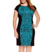 Studio 1® Short-Sleeve Brocade Panel Sheath Dress - Plus