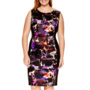 London Style Collection Sleeveless Floral Panel Sheath Dress - Plus