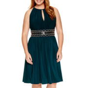 R&M Richards Sleeveless Embellished Waist Dress - Plus