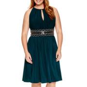 R&M Richards Sleeveless Embellished Waist Dress - Plus