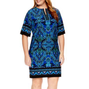 Studio 1® Short-Sleeve Print Sheath Dress - Plus