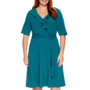 Maya Brooke Elbow-Sleeve Ruffle Wrap Dress - Plus