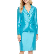 Le Suit® Notch Collar Shiny Jacket and Skirt Set