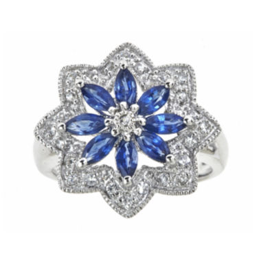 jcpenney.com | LIMITED QUANTITIES  Genuine Blue Sapphire and Lab-Created White Sapphire Flower Ring