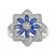 CLOSEOUT! Genuine Blue Sapphire and Lab-Created White Sapphire Flower Ring