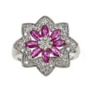 CLOSEOUT! Lead Glass-Filled Ruby and Lab-Created White Sapphire Flower Ring
