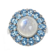 CLOSEOUT! Genuine Blue Moonstone and Swiss Blue Topaz Ring