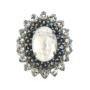 Genuine Blue Moonstone and Swiss and London Blue Topaz Ring