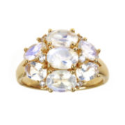 CLOSEOUT! Genuine Rainbow Moonstone and Lab-Created White Sapphire Ring