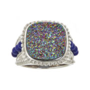 Genuine Mystic Drusy and Lapis Ring