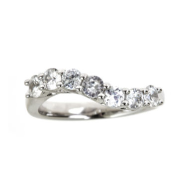jcpenney.com | LIMITED QUANTITIES  Genuine White Zircon Sterling Silver Wave Ring