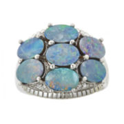 CLOSEOUT! Genuine Blue Opal and Lab-Created White Sapphire Ring