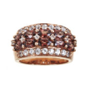 CLOSEOUT! Genuine Red Zircon and Lab-Created White Sapphire 18K Rose Gold Over Silver Ring