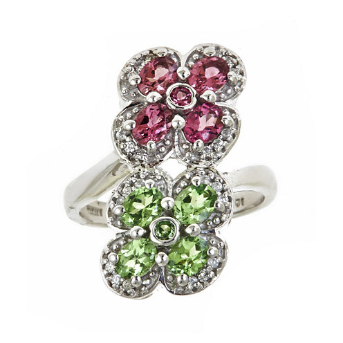 LIMITED QUANTITIES  Genuine Tsavorite and Pink Tourmaline Double Flower Ring