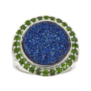 CLOSEOUT! Genuine Blue Drusy Quartz and Green Chrome Diopside Round Ring